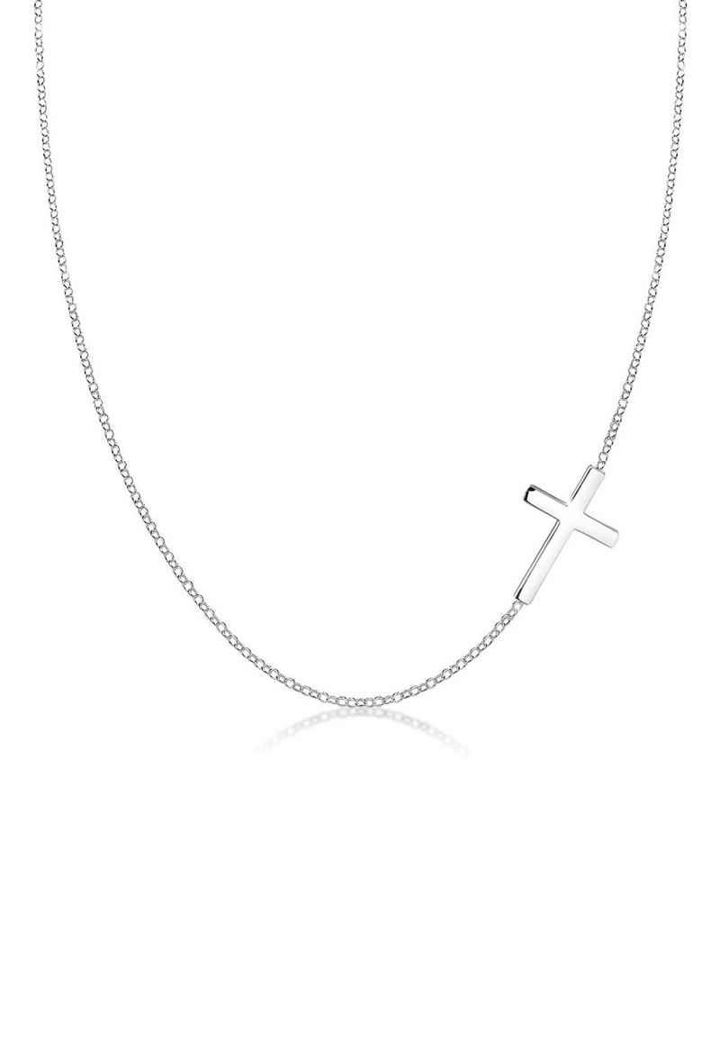 Elli Kette mit Anhänger »mit Kreuz Schlicht 925 Sterling Silber«