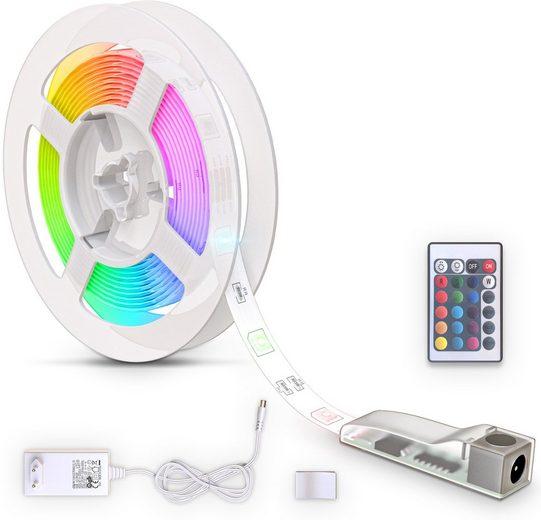 B.K.Licht LED Stripe, 90-flammig, LED Band 3m, silikonbeschichtet, RGB, Fernbedienung, selbstklebend, Farbwechsel, kürzbar, Lichterkette, Band, Streifen, LED Leiste, LED Lichtleiste, Weiß