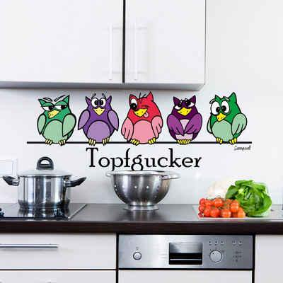 Sunnywall Wandtattoo »Sunnywall Wandtattoo freche Topfgucker Eulen Vögel Kochen Küche Essen Wandsticker bunt«