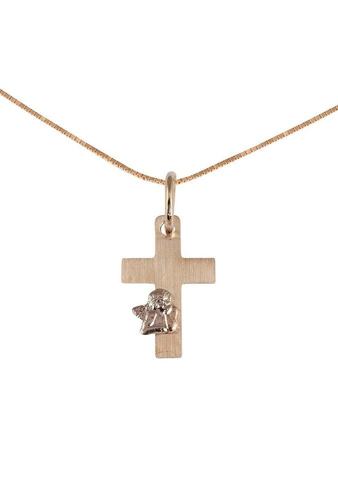 firetti Halsschmuck: Halskette »Kreuz mit Engel« in Venezianerkettengliederung in goldfarben