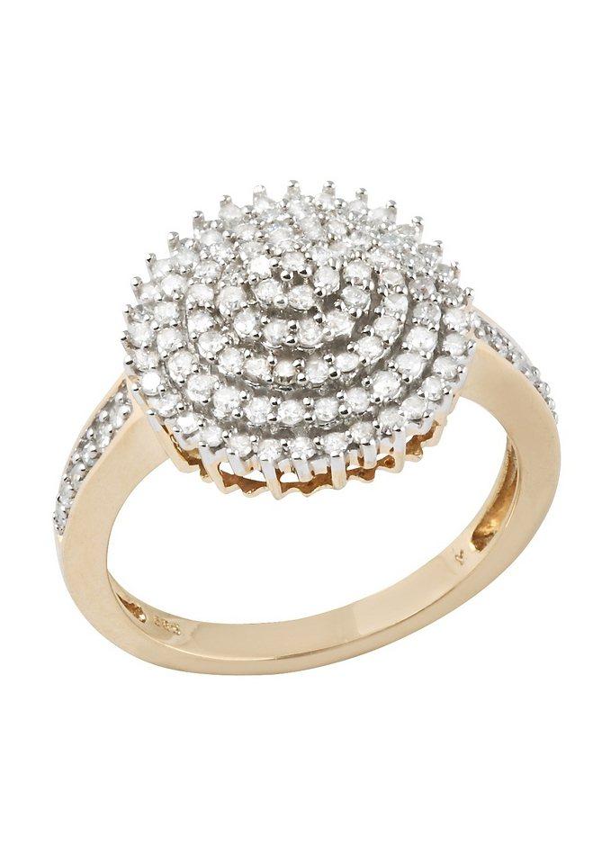 firetti Ring mit funkelnden Diamanten in goldfarben