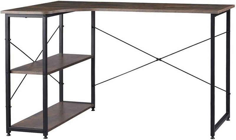 Woltu Schreibtisch »TSB34«, Schreibtisch mit Bücherregal in L-Form 120x74cm