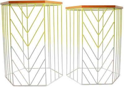 HSE24 Beistelltisch »2er Set moderne Beistelltische mit Farbverlauf und 6-Eck Platte stapelbar Scandi-Style Retro« (Set, 2-St., 2er Set), Leicht stapelbar, modernes Design, leichte Optik