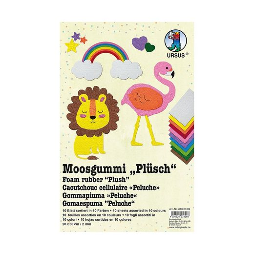URSUS Moosgummi Plüsch 2 mm, 10 Blatt 20x30 cm, 10-fach sortiert