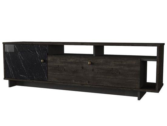 moebel17 TV-Regal »Wohnwand Artem Rebab Braun Dunkelgrau (Marmor Opt«, Modernes, kompaktes TV Lowboard
