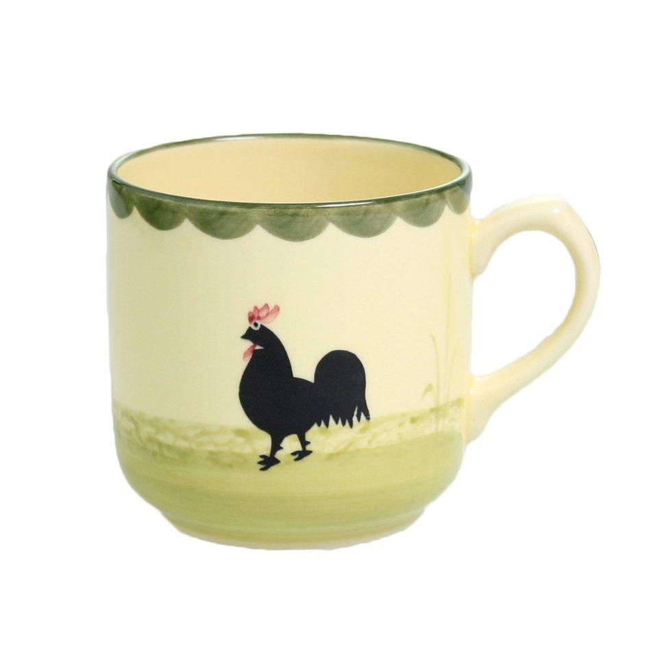 Zeller Keramik Kaffeebecher »Hahn und Henne« in Mehrfarbig