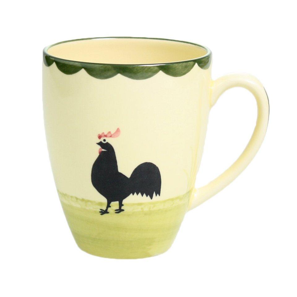 Zeller Keramik Milchkaffee Obertasse »Hahn und Henne« in Mehrfarbig
