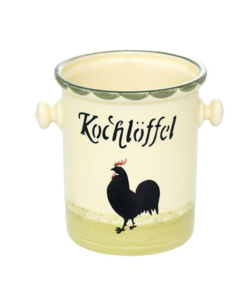 Zeller Keramik Kochlöffelbehälter »Hahn und Henne« in Mehrfarbig
