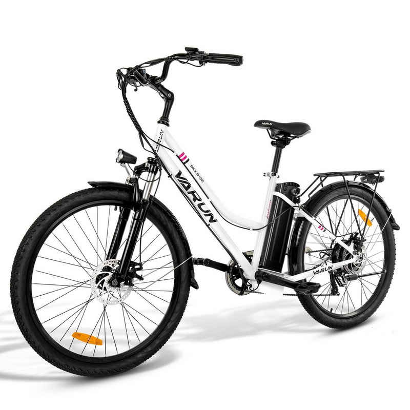 VARUN E-Bike »BKXB02-White Elektrofahrrad Cityräder«, 10 Gang Shimano Shimano Schaltwerk, Kettenschaltung, Heckmotor 350,00 W, (Packung, Mit Batterieladegerät), Abnehmbarer Akku, Stoßdämpfung vorne und hinten, verstellbarer Sitz und Lenker