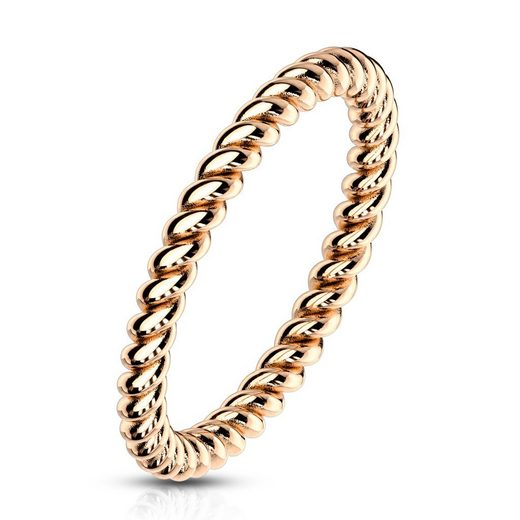 BUNGSA Fingerring »Ring in gedrehter Optik verschiedene Farben aus« (inkl. Schmuckbeutel aus Organza), Damen Herren Verlobung Ehering Valentinstag