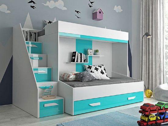 Feldmann-Wohnen Hochbett »PARTY« (Etagenbett, mit Bettschublade) Farbe wählbar