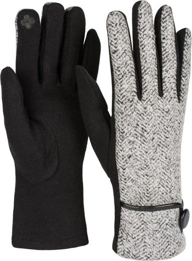 styleBREAKER Fleecehandschuhe Touchscreen Handschuhe Fischgrät Muster