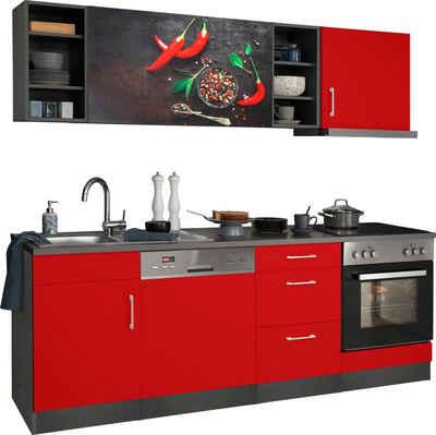 HELD MÖBEL Küchenzeile »Paris«, mit E-Geräten, Breite 220 cm