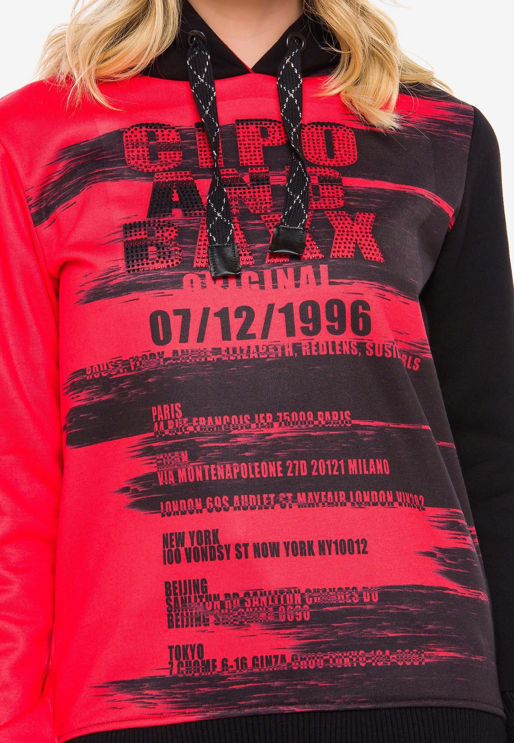 Cipo & Baxx Kapuzensweatshirt »brushed« Mit Markenprint Online Kaufen