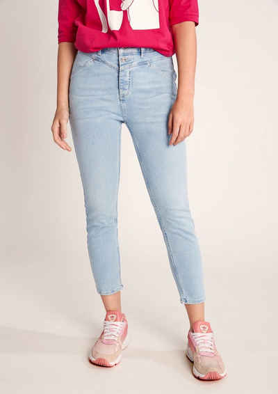 comma casual identity 7/8-Jeans »Skinny: Gewaschene Stretchjeans« Waschung, Leder-Patch
