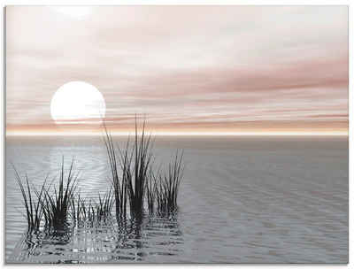 Artland Glasbild »Sonnenuntergang mit Schilf«, Sonnenaufgang & -untergang (1 Stück)