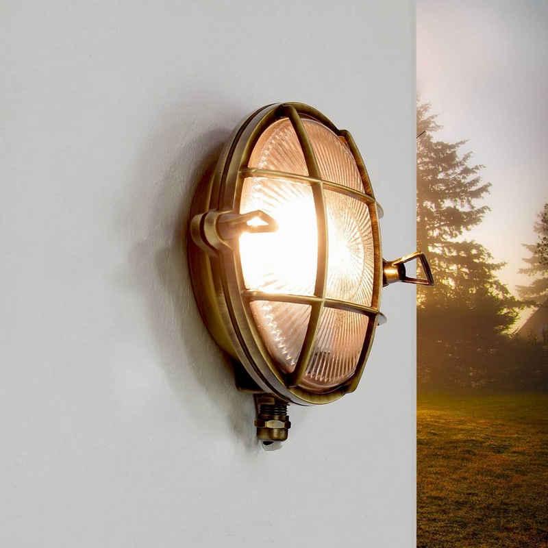 Licht-Erlebnisse Außen-Wandleuchte »SERIFOS«, Außenwandleuchte Rund Messing maritim Schiffslampe Lampe