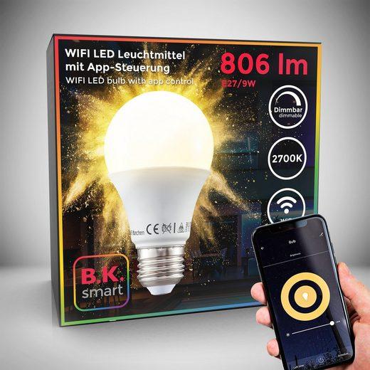 B.K.Licht LED-Leuchtmittel, E27, 1 Stück, Warmweiß, Smart Home LED-Lampe RGB WiFi App-Steuerung dimmbar Glühbirne 9W 806 Lumen