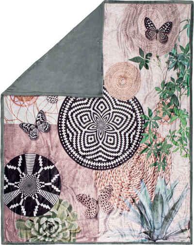 Plaid »Skylar«, hip, mit Mandalas und Schmetterlingen