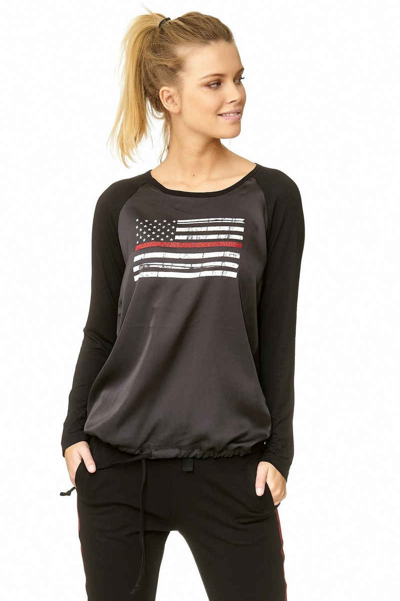 Decay Langarmshirt mit stylischer USA-Applikation