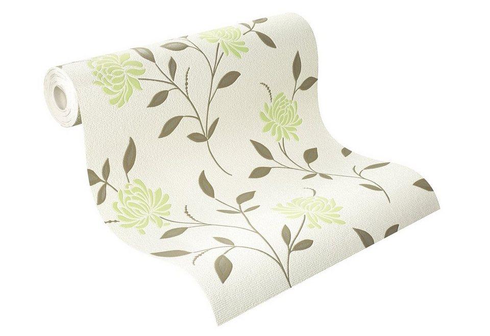 Schaumtapete, Rasch, »Grüne Blüten auf Beige« in beige-grün