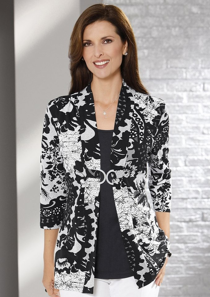 Lady Shirt in wunderschönem Druck-Dessin in schwarz-weiß
