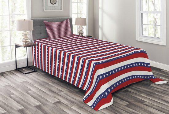 Tagesdecke »Set mit Kissenbezügen Waschbar«, Abakuhaus, 4. Juli Amerikanische Flagge Motiv