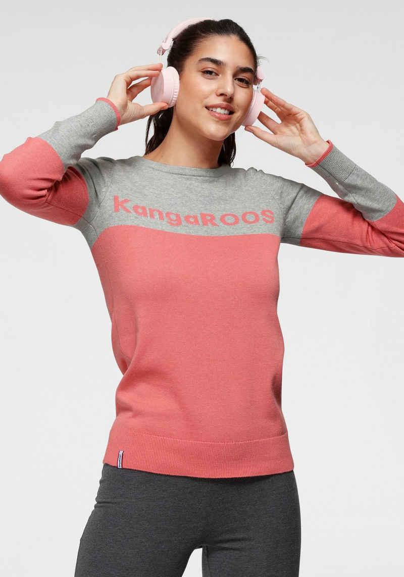 KangaROOS Rundhalspullover mit Colour-Blocking und großem Logo-Schriftzug - NEUE KOLLEKTION