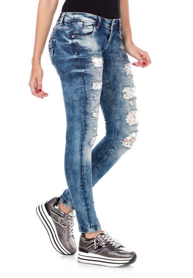 cipo & baxx -  Bequeme Jeans »WD337« mit Glitzer-Elementen