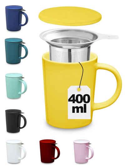 Cosumy Teeglas »Teetasse mit Sieb und Deckel Gelb 400ml«, Keramik, Hält Lange warm - 400ml Groß - Spülmaschinenfest