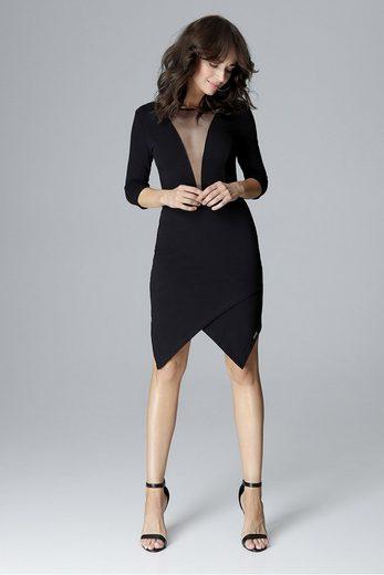 LENITIF Jerseykleid mit tiefem Ausschnitt