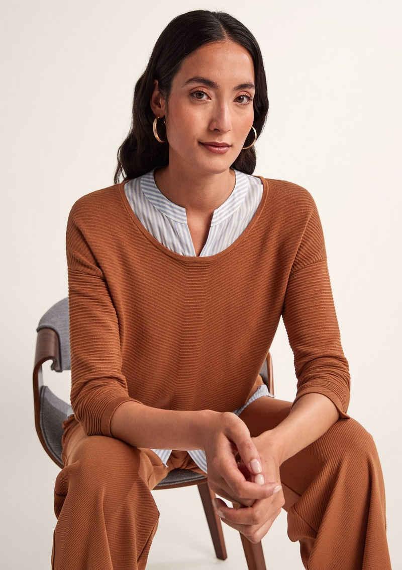 Comma Langarmshirt »Strukturpullover mit Bluseneinsatz« (1-tlg) Layering