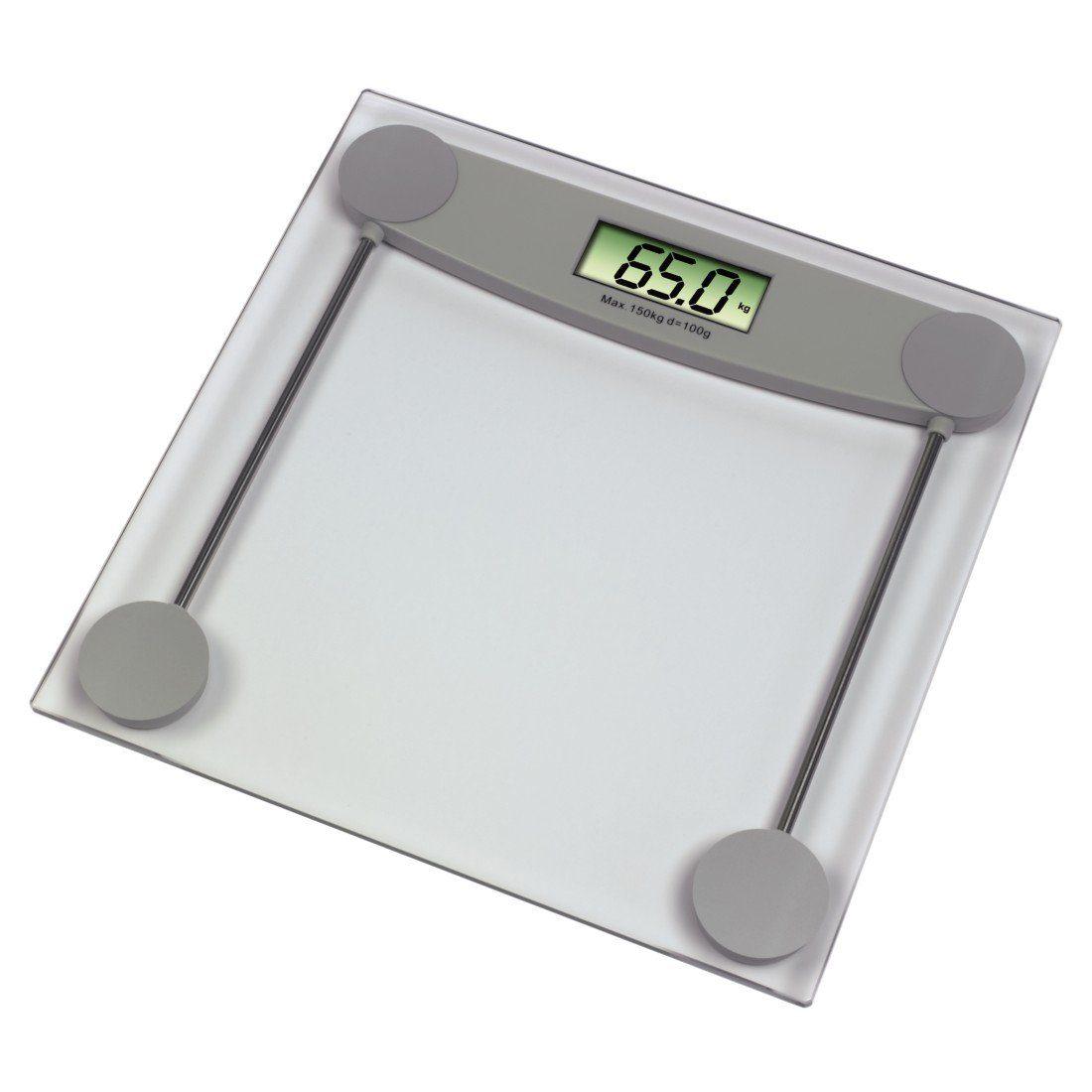 Xavax Digitale Personenwaage für Körpergewicht, Ultraflach »Melissa, Transparent/Grau«