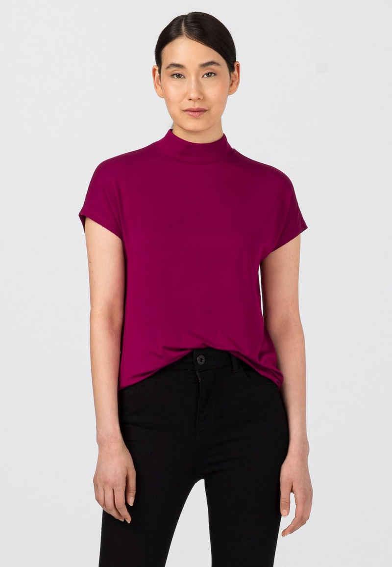 HALLHUBER T-Shirt »geschnittenes Stehkragenshirt«