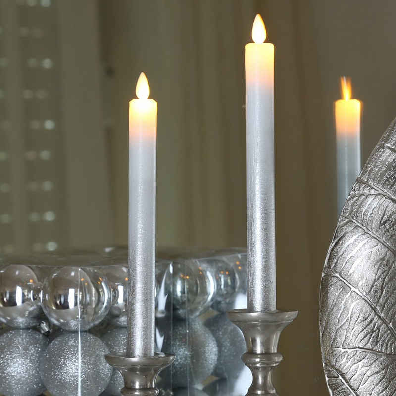 MARELIDA LED-Kerze »LED Stabkerzen Echtwachs bewegliche Flamme Auspustfunktion H:24cm silber 2er Set« (2-tlg)