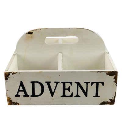 Parts4Living Holzkiste »Antikholz Adventskiste mit Griff Holzkiste mit Aufdruck Weihnachtsdekoration quadratisch weiß 25x25x15 cm«, im angesagten Shabby Chic Stil