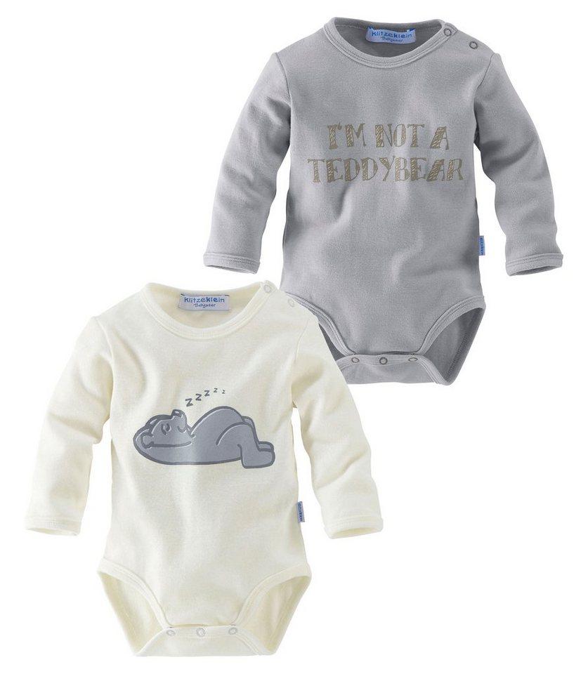 Klitzeklein Langarmbodys (Packung, 2 Stück), für Babys in Grau-Natur