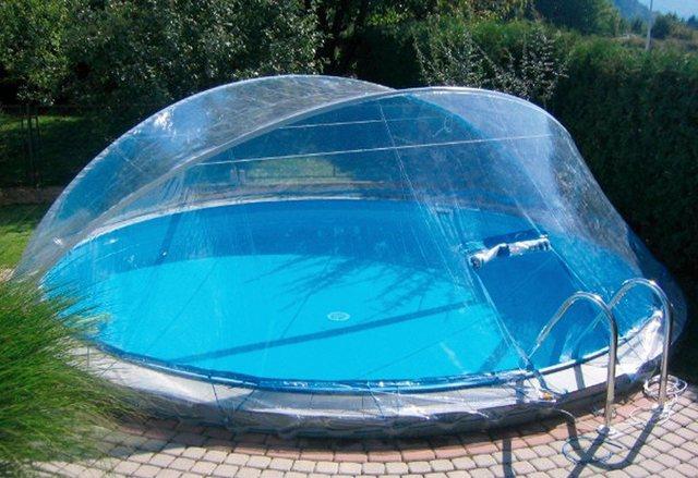 Cabrio Dome für Ovalform- und Rund-Pools, mit breitem Handlauf