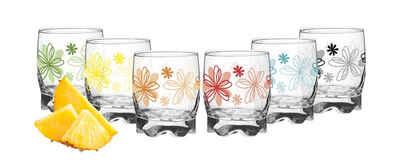 PLATINUX Glas »Trinkgläser«, Glas, mit Blumen Dekor Set 6 Teilig 250ml Wassergläser Saftgläser mit geformten Boden klein