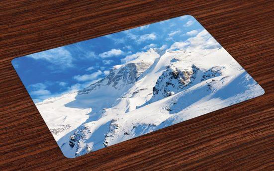 Tischdecke, »Waschbare Stoff Esszimmer Küche Tischdekorations Digitaldruck«, Abakuhaus, (4-teilig, 4 Teilig-St., Set aus 4x), Winter Snowy Mountain Ski