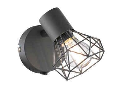 FISCHER & HONSEL LED Wandleuchte, Gitter-Lampenschirm Wandlampe mit Schalter, schwenkbarer Wand-Strahler innen & Wandspot im Retro Design für Wohnzimmer & Flur-Beleuchtung, Nachttischlampe Wandmontage