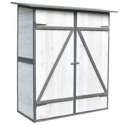 Mucola Geräteschrank »XXL Geräteschuppen Weiß/Grau Gerätehaus Holz Geräteschrank Gartenschrank«