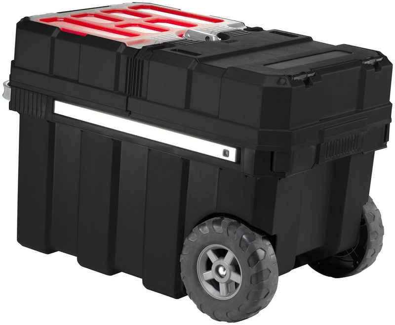 Keter Werkzeugtrolley »Master-loader«, integrierter Kleinteile-Sortimentskasten & Handwerkzeugfach mit Trennwand, kugelgelagerter Gleitmechanismus, komfortabler Softgriff, 6 herausnehmbare Kleinteilefächer, Gummiräder