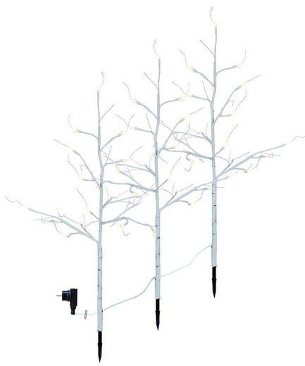 STAR TRADING LED Baum »3er Set LED-Lichtbäume - 48 warmweiße LED - H: 75cm - ganzjährige Gartendekoration - weiß«