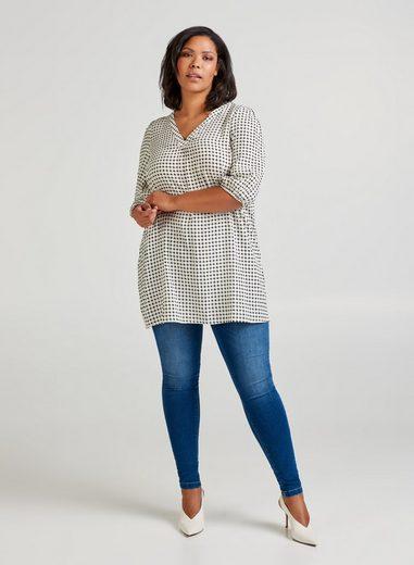 Zizzi Tunika Große Größen Damen Karierte Tunika mit 3/4-Ärmeln und V-Ausschnitt
