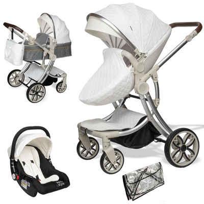 ib style Sport-Kinderwagen »Juma 3 in 1 Kombi-Kinderwagen inkl. Babyschale Weiß«, Kinderwagen + Buggy - inkl. Autoschale - inkl. Regenschutz - Klappbar
