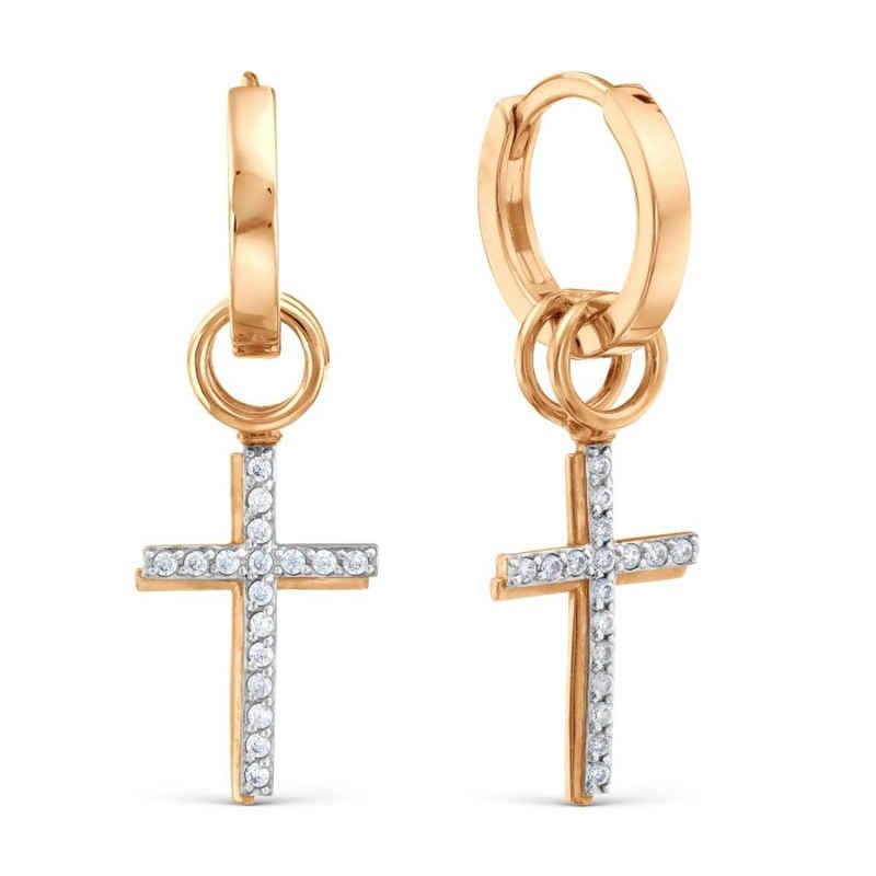 Zolotoy Klappcreolen »24702554 Ohrhänger 375 Gold Roségold Creolen Kreuz Zirkonia Ohrringe Rotgold«, Goldschmuck