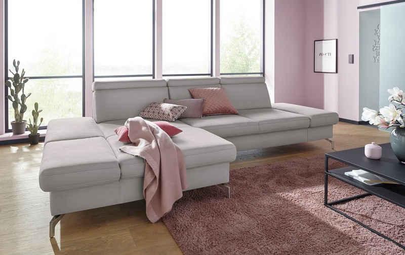 sit&more Ecksofa, Fußhöhe 12 cm, inklusive Sitztiefen-, Armteil- und Kopfteilverstellung