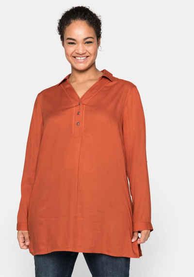 Sheego Tunika mit Hemdkragen und kurzer Knopfleiste