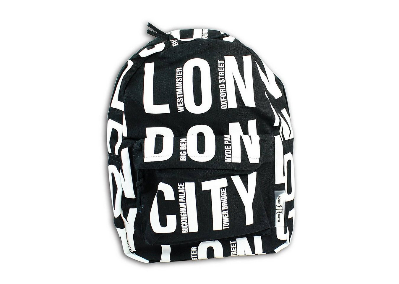 robin ruth -  Freizeitrucksack »OTG6020S  London City Rucksack schwarz«, Jugend, Damen Freizeitrucksack, Sportrucksack Baumwolle, schwarz, weiß